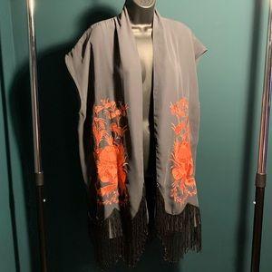 NWOT Free People grey/orange embroider tassel vest